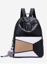 Pompom Color Block Geometric Backpack -