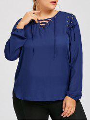 Plus Size Slit Lace Up Blouse -