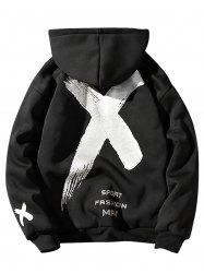 Fleece Graphic Paint Print Zip Up Hoodie -