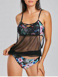 Mesh Panel Tropical Blouson Tankini Set -