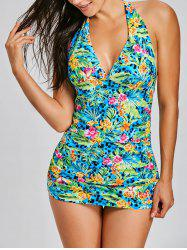 Jungle Halter Flowers Print Tankini Set -