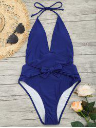 Low Back Plunge Front Tied Swimsuit -