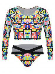 Plus Size Long Sleeves Printed Swimsuit -