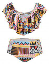 Plus Size Aztec Print Flounce Lattice Cut Bikini Set -