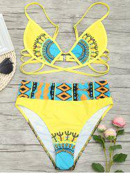 Aztec Print High Waisted Bikini Set -