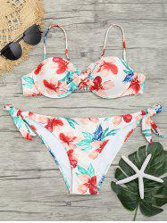 Side Tied Flower Print Bikini Set -