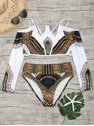 Long Sleeve Aztec Print Choker Swimsuit -