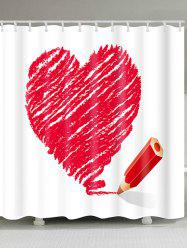 Heart and Pencil Printed Valentine's Day Waterproof Shower Curtain -
