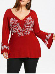 Plus Size V Neck Flare Sleeve T-shirt -