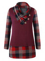 Plus Size Heap Collar Plaid Tunic Top -