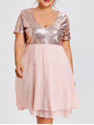 Glitter Plus Size Sequin Homecoming Dress - Sequin Pink - 3xl