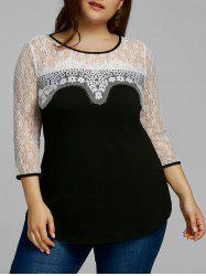 Plus Size Lace Trim Two Tone Top -