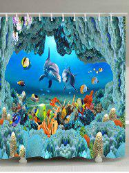 Underwater World Print Waterproof Polyester Bath Curtain -