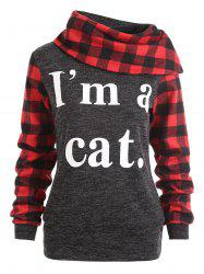 Plaid Insert I am A Cat Sweatshirt -