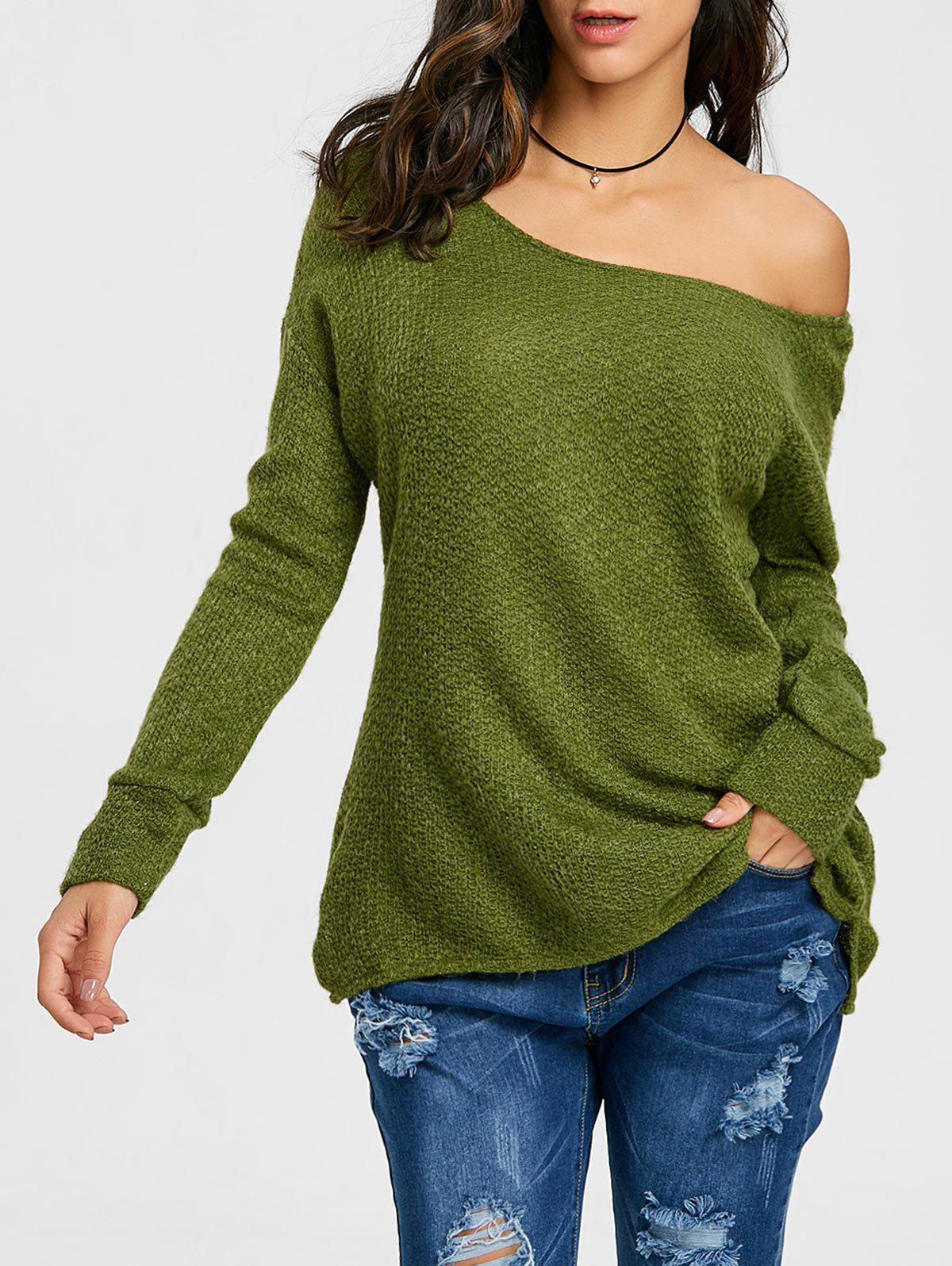 Discount Skew Neck Tunic Sweater