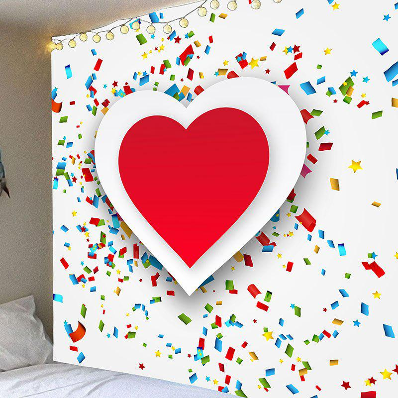 Best Wall Decor Valentine's Day Coloured Ribbon Heart Printed Hanging Tapestry