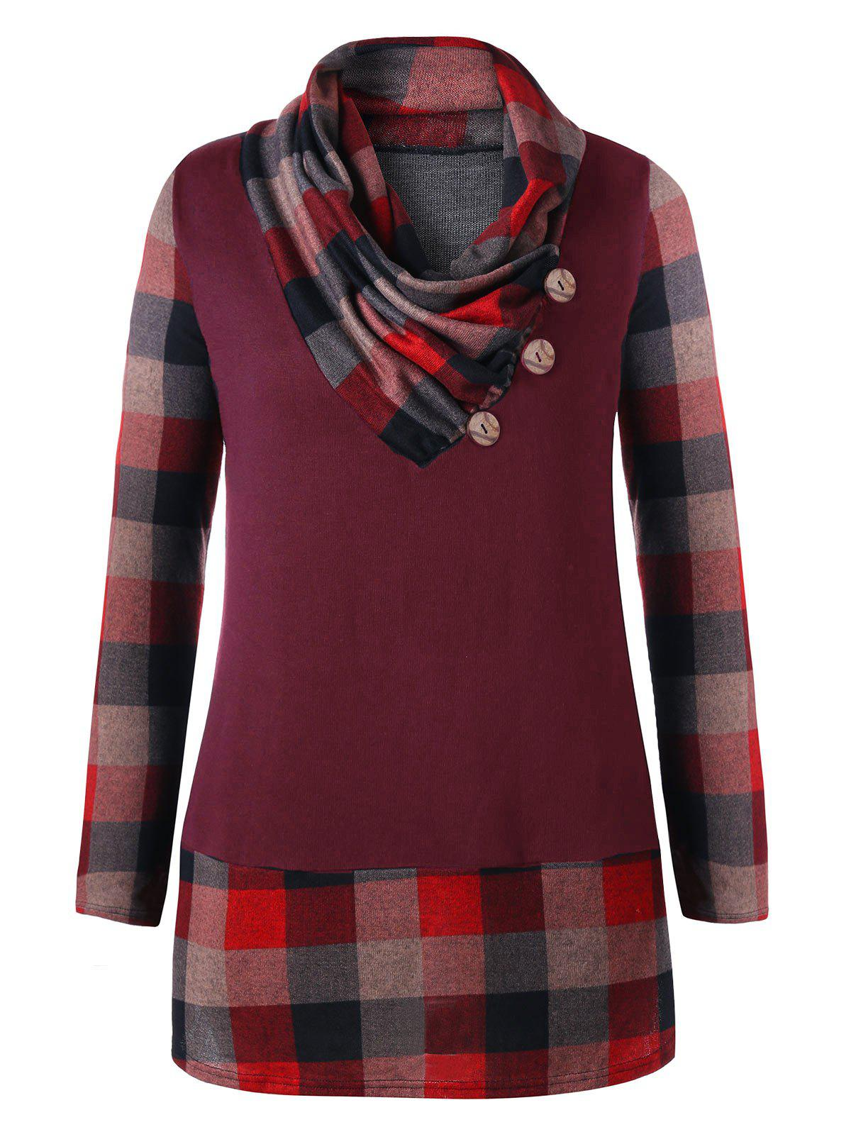 Online Plus Size Heap Collar Plaid Tunic Top
