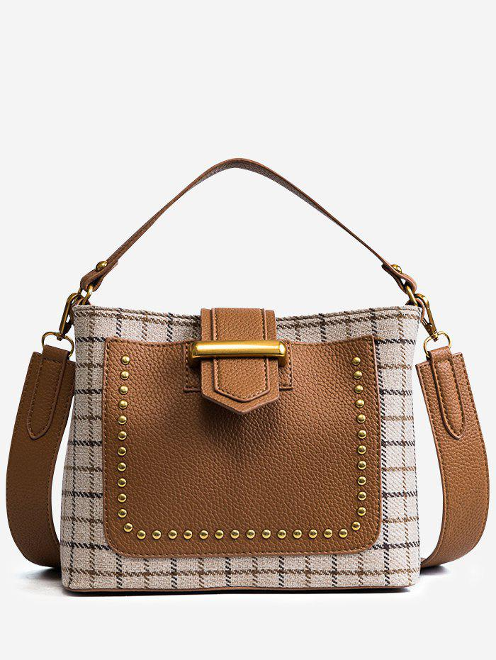 Hot Color Block Plaid Studs Handbag