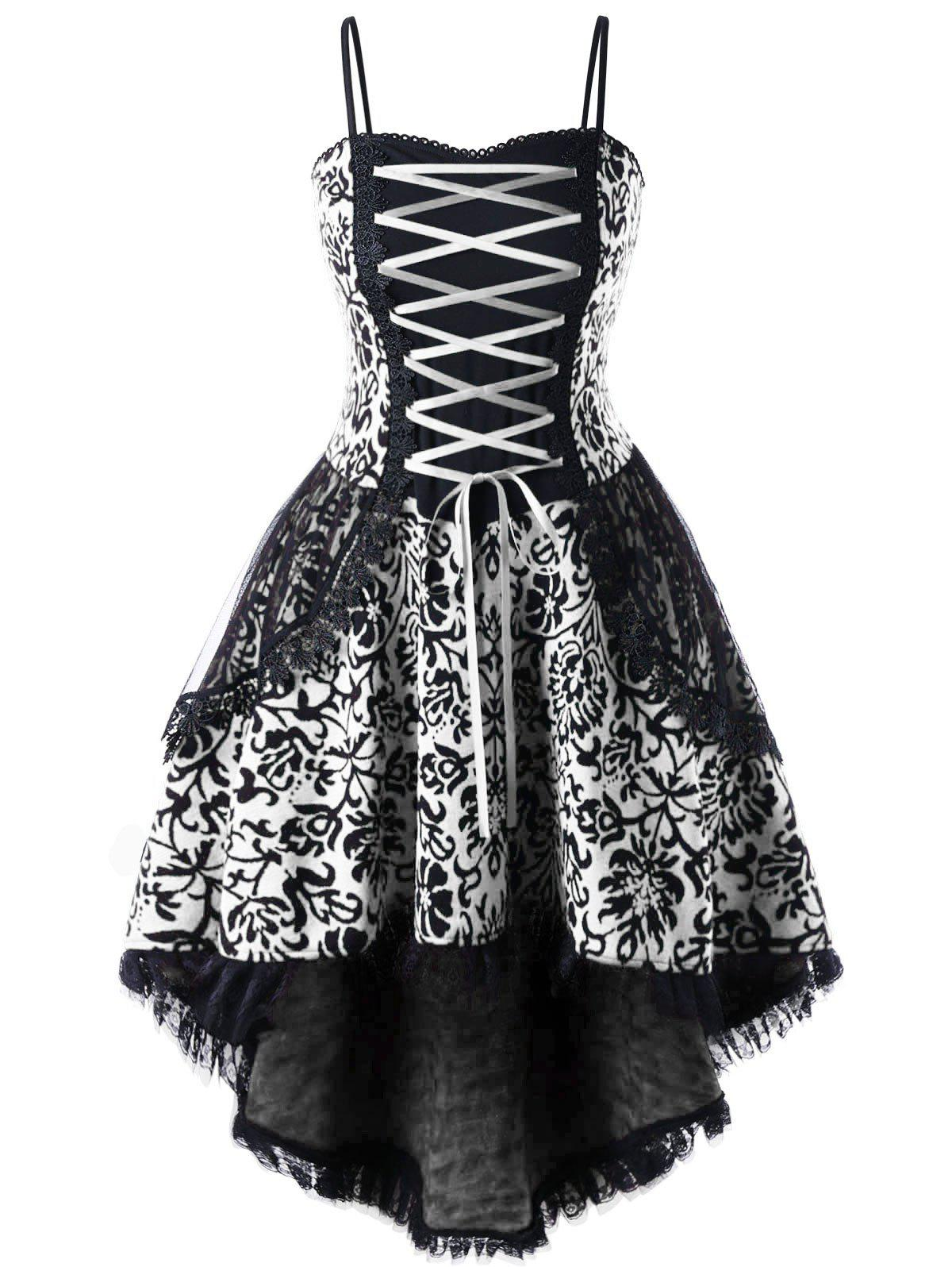 32 Off Plus Size Lace Up Layered Corset Dress Rosegal