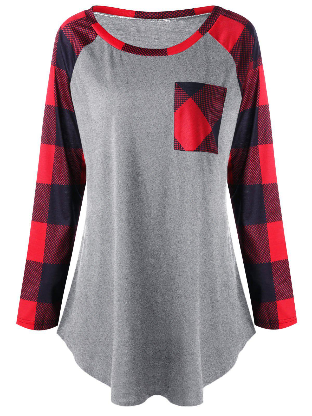 Outfit Plus Size Patch Pocket Plaid T-shirt