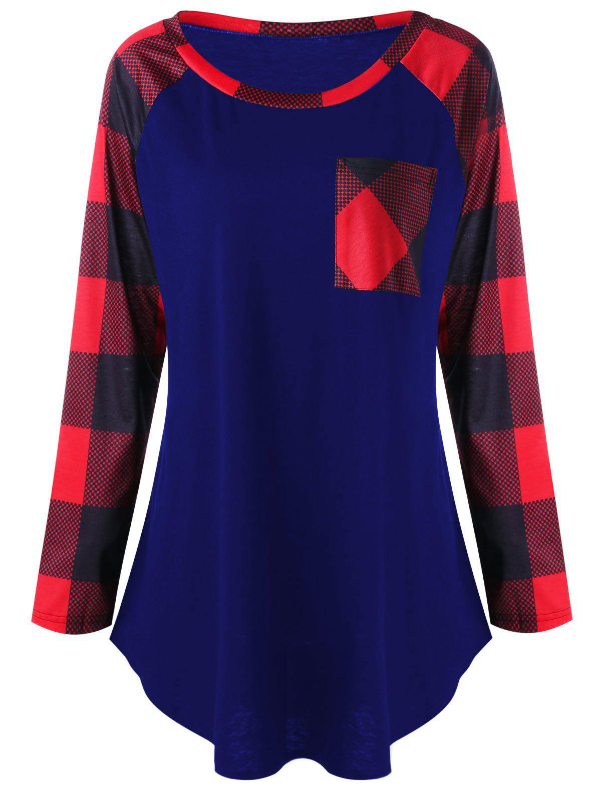 Discount Plus Size Patch Pocket Plaid T-shirt