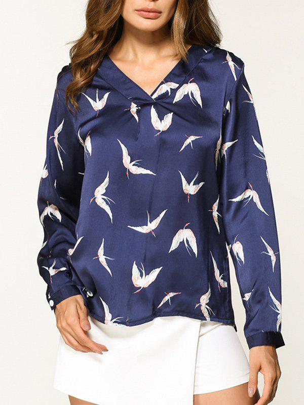 Unique V Neck Birds Pattern Shirt