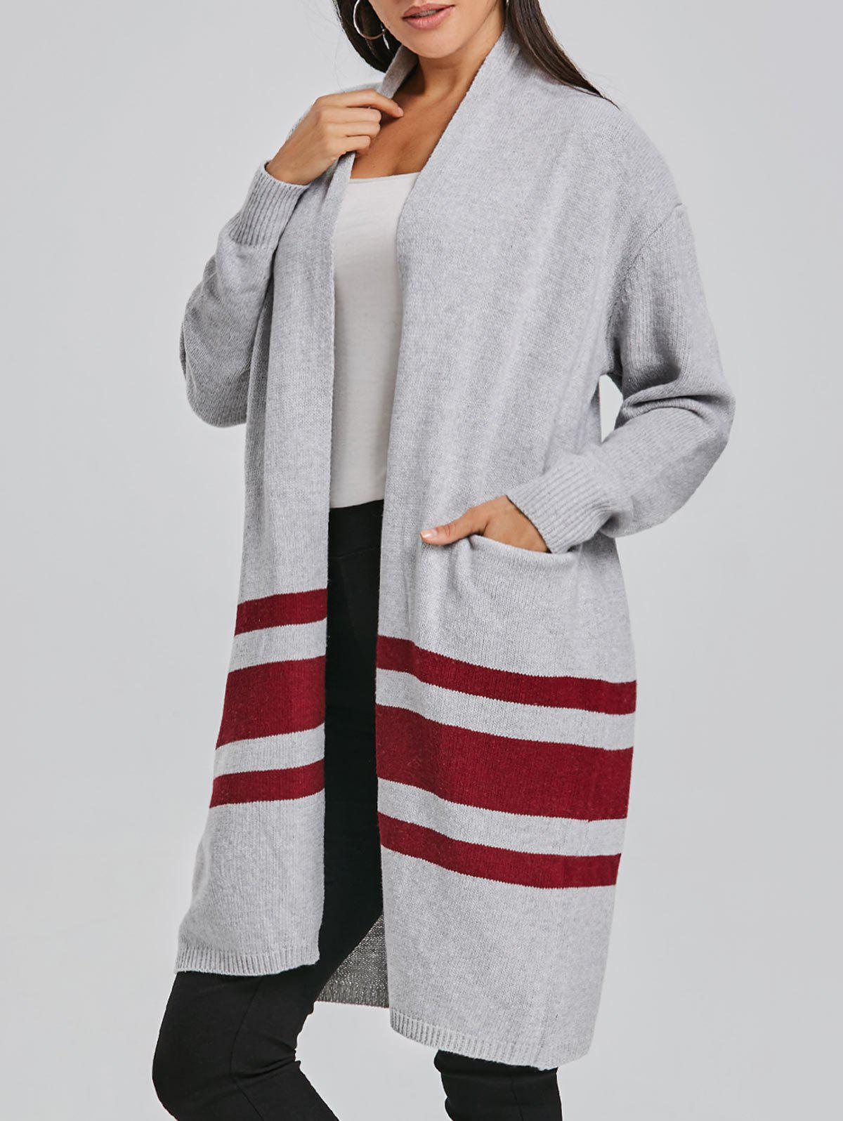 Best Striped Open Front Cardigan