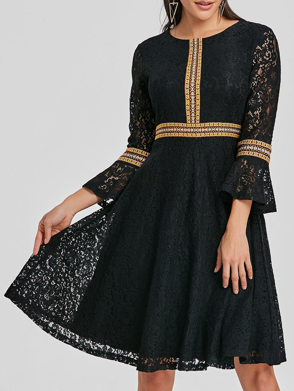 Hot Embroidered Lace Bell Sleeve A Line Dress