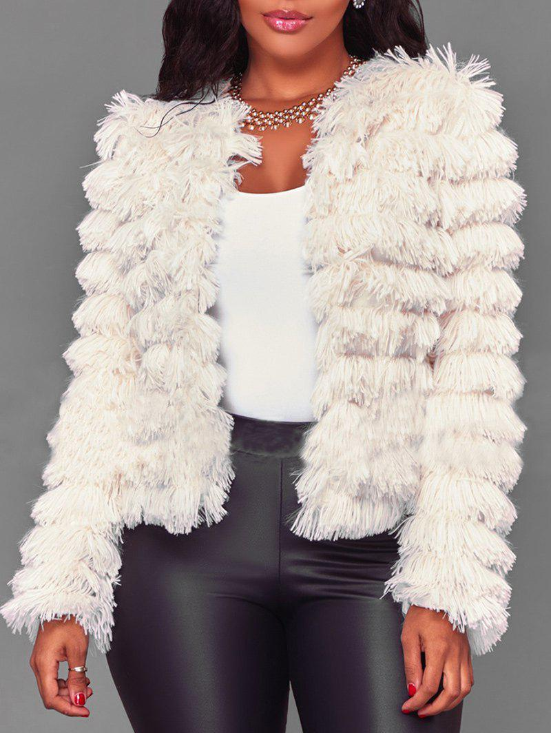 Shops Collarless Faux Fur Jacket