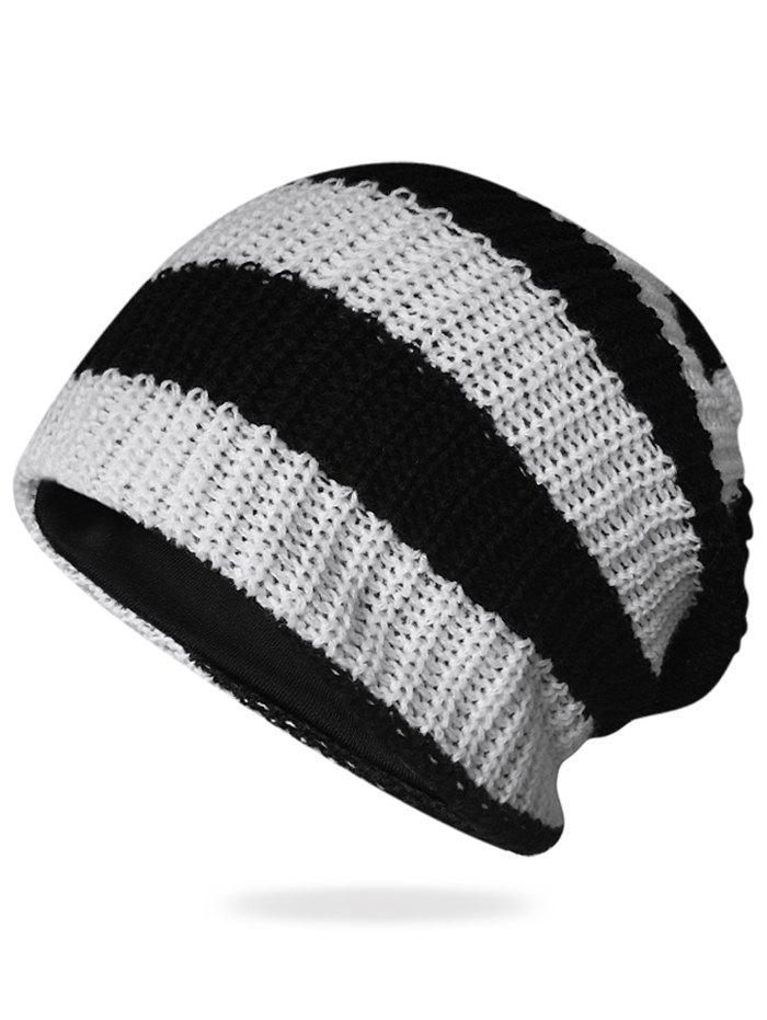 Best Striped Pattern Embellished Crochet Knitted Beanie