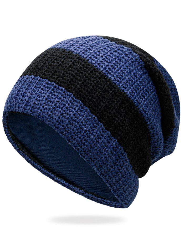 Unique Striped Pattern Embellished Crochet Knitted Beanie