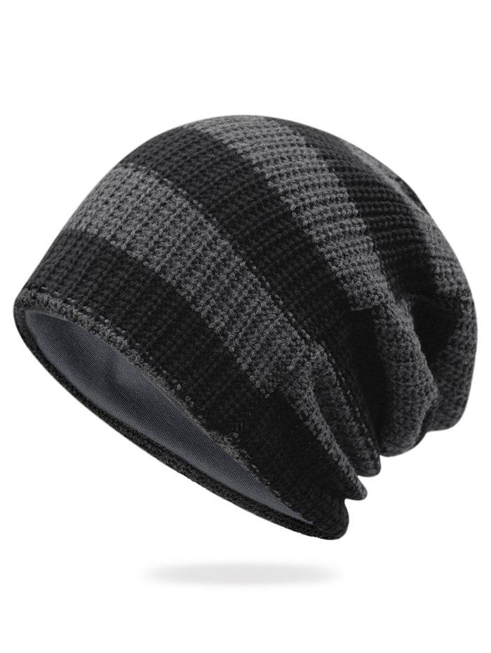 Store Striped Pattern Embellished Crochet Knitted Beanie