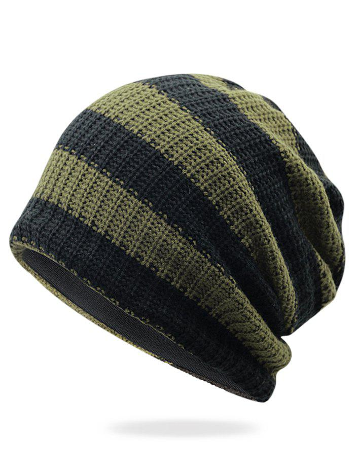 Outfit Striped Pattern Embellished Crochet Knitted Beanie
