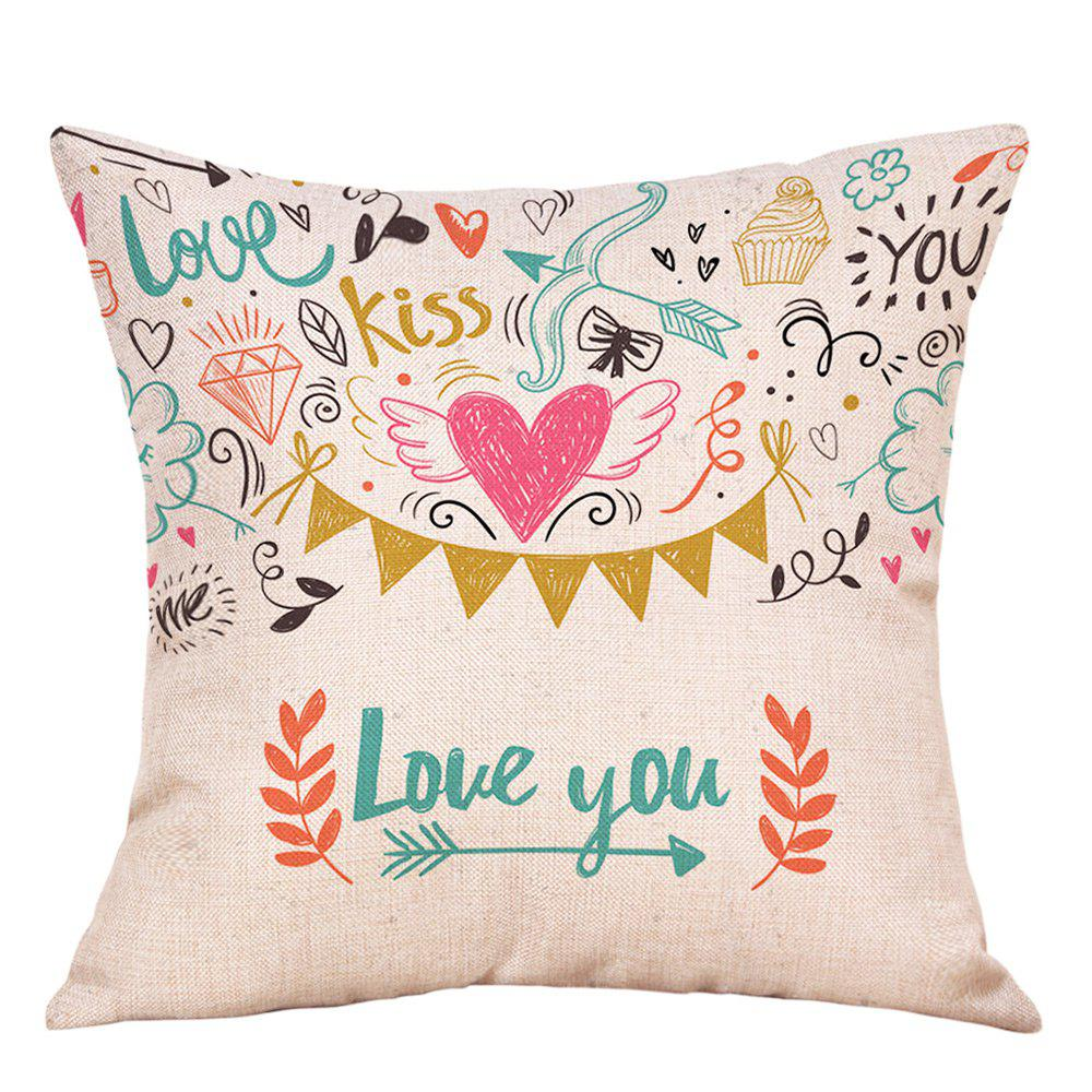 Best Valentine's Day Theme Print Decorative Linen Pillowcase