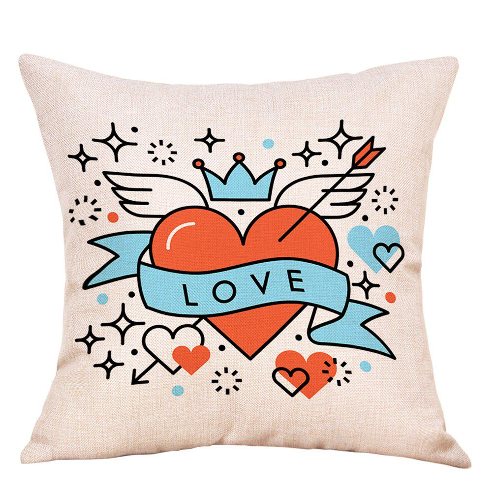 Shops Hearts Wings Print Valentine's Day Decorative Linen Pillowcase