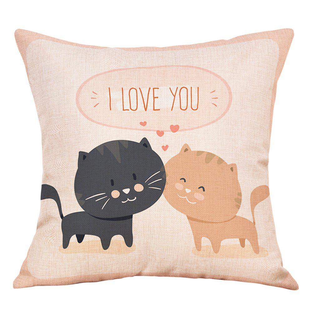 Shop Cats Lovers Print Valentine's Day Decorative Linen Pillowcase