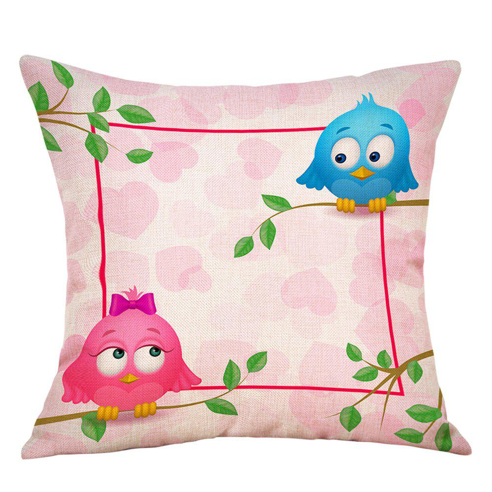 Cheap Birds Lovers Print Valentine's Day Decorative Linen Pillowcase