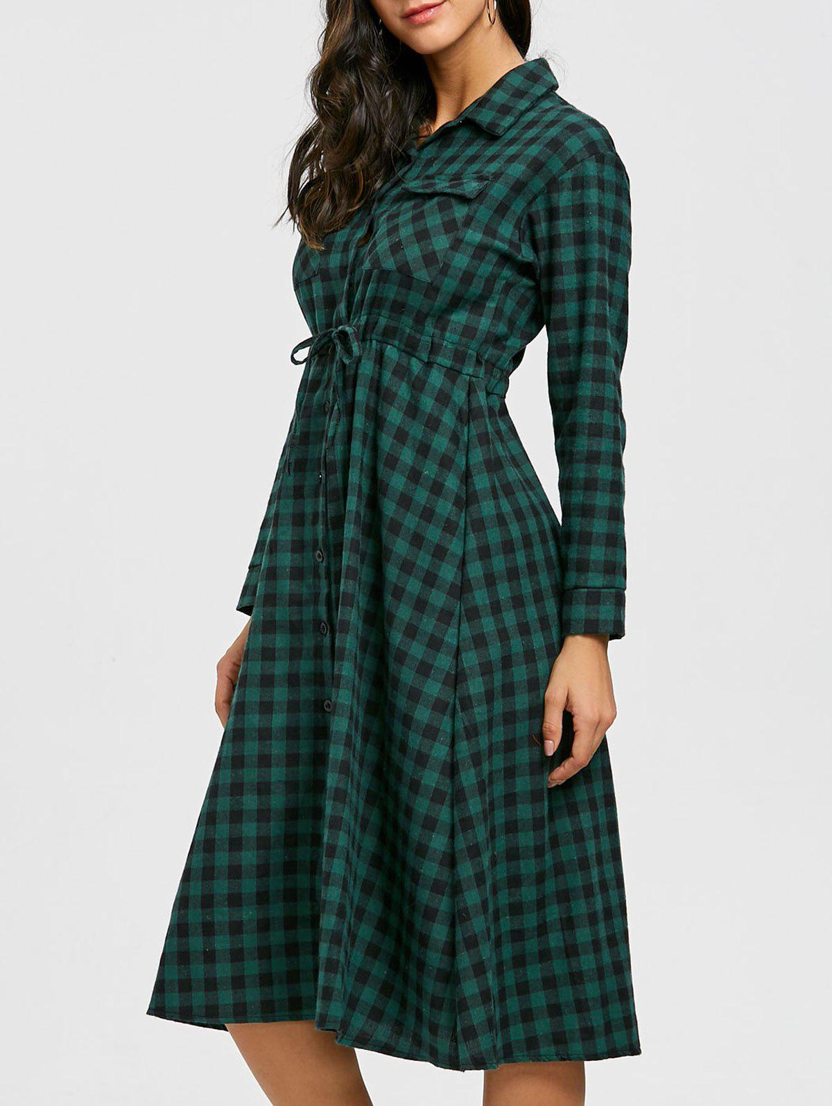 Buy Long Sleeve Plaid Midi Shirt Dress