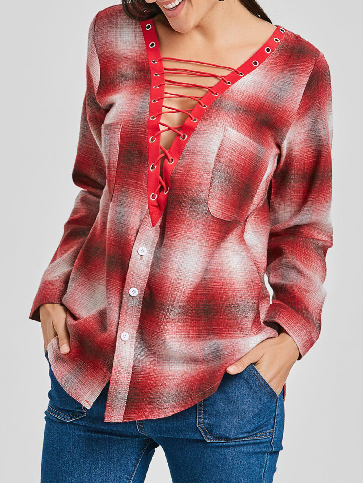 Store Plaid Lace Up Plunge Shirt