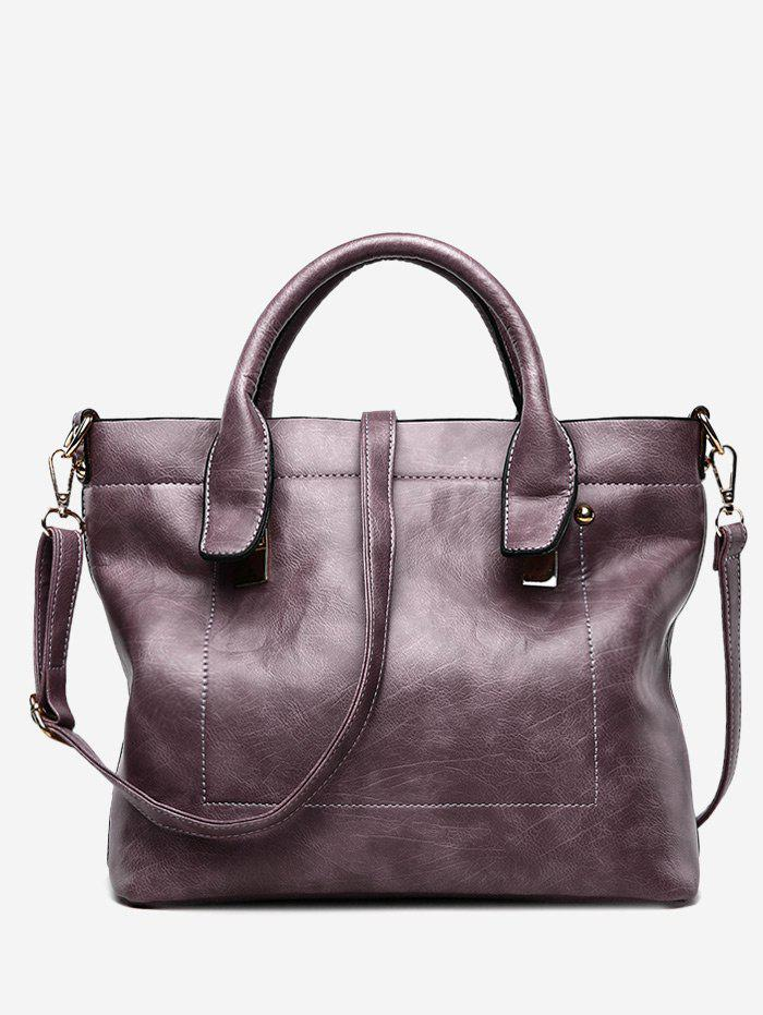 Buy Double Handle Stitching Handbag With Strap