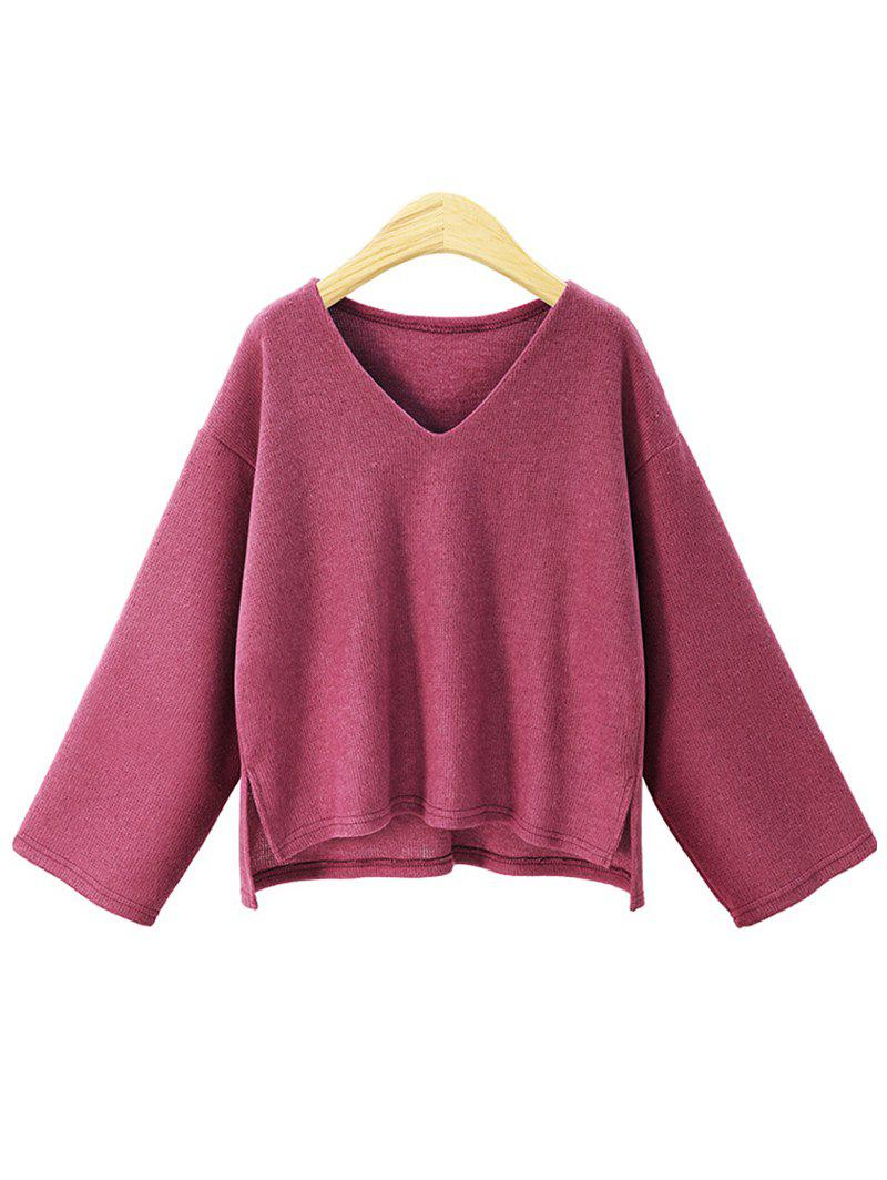 Online Plus Size V Neck High Low Sweater