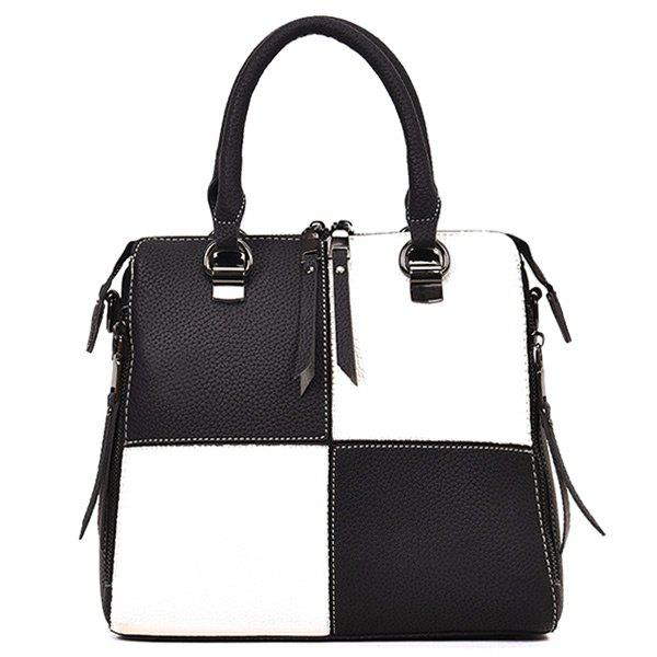 Trendy Two-way Zipper Color Block Handbag