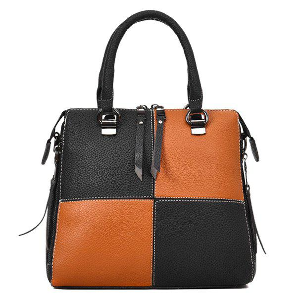 Discount Two-way Zipper Color Block Handbag