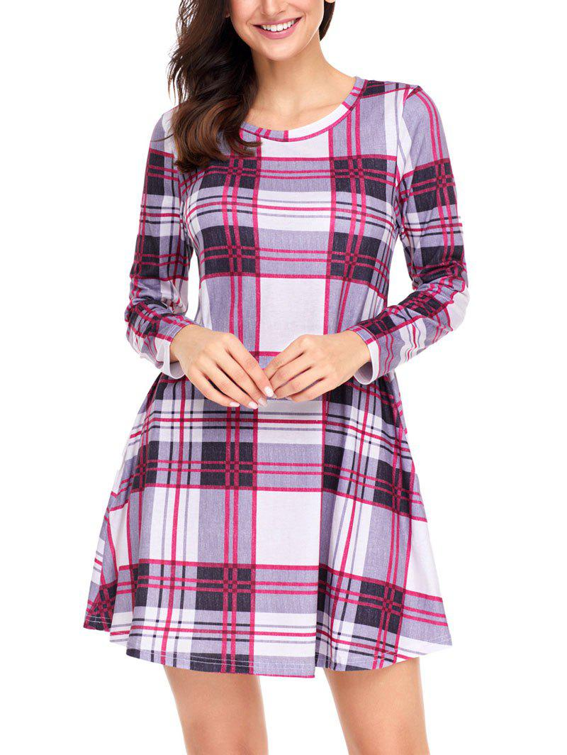 Discount Plaid Long Sleeve A-line Dress