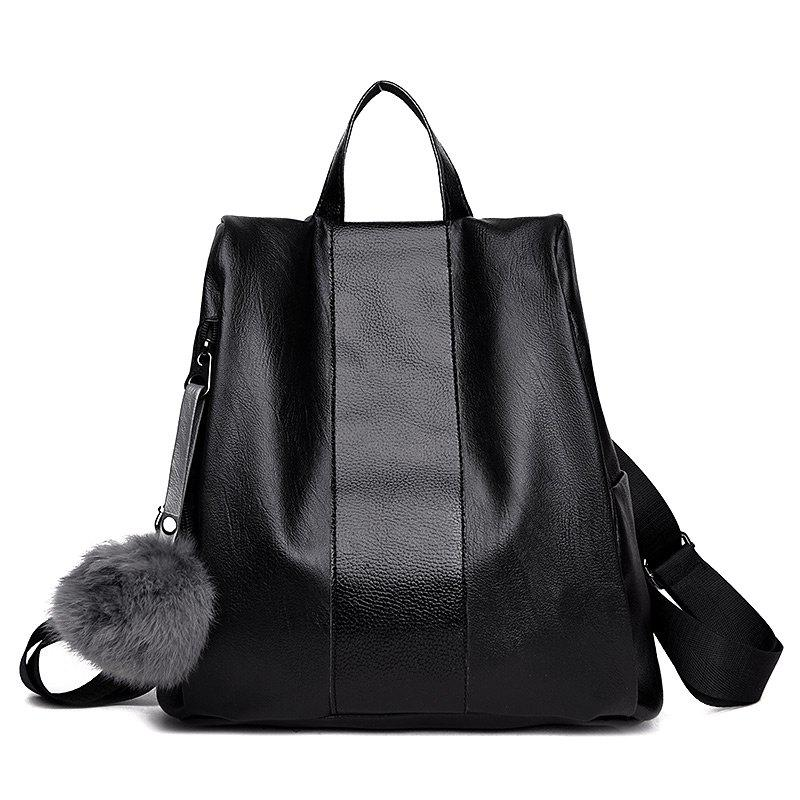 Unique PU Leather Side Zip Pompom Backpack