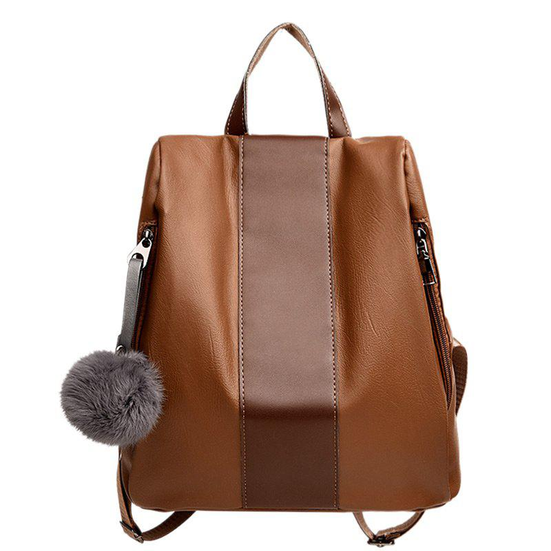 Affordable PU Leather Side Zip Pompom Backpack