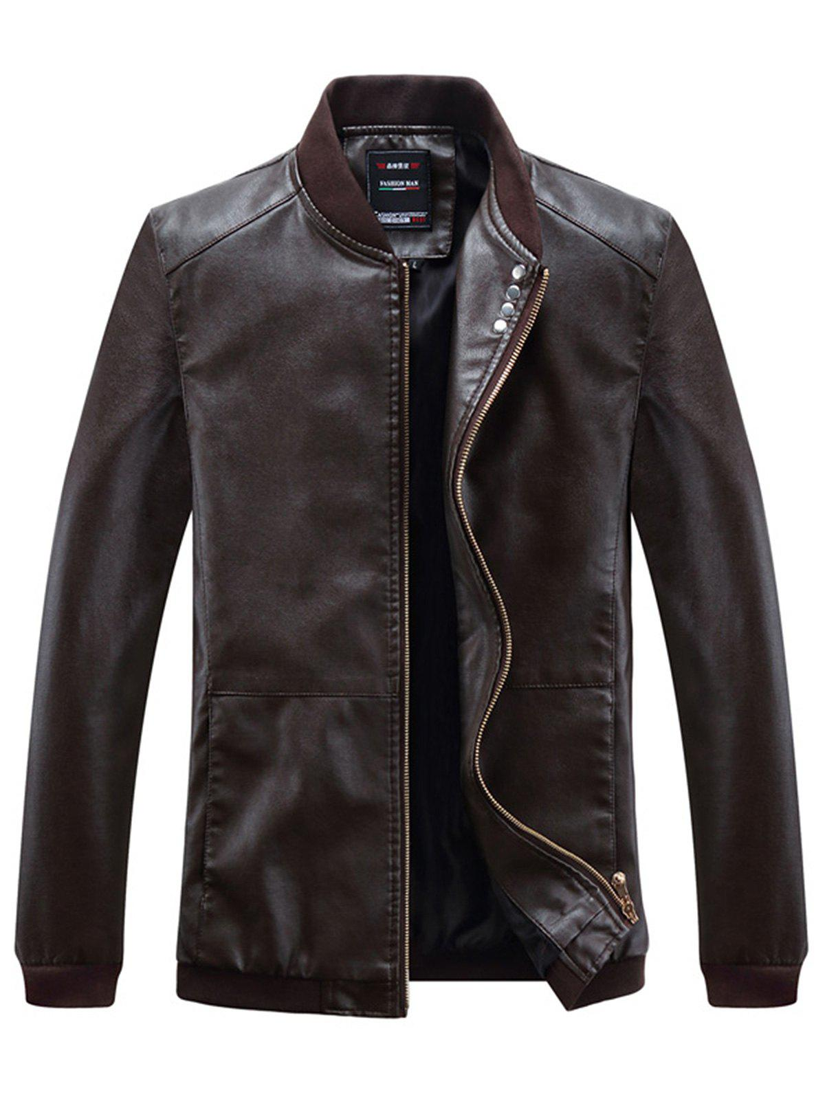 Chic Buttons Embellished PU Leather Zip Up Jacket