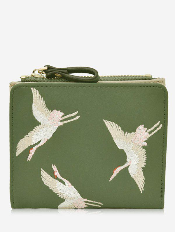 Store Bi Fold Birds Embroidery PU Leather Wallet