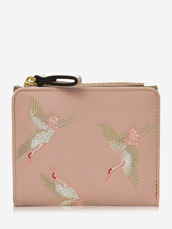 Trendy Bi Fold Birds Embroidery PU Leather Wallet