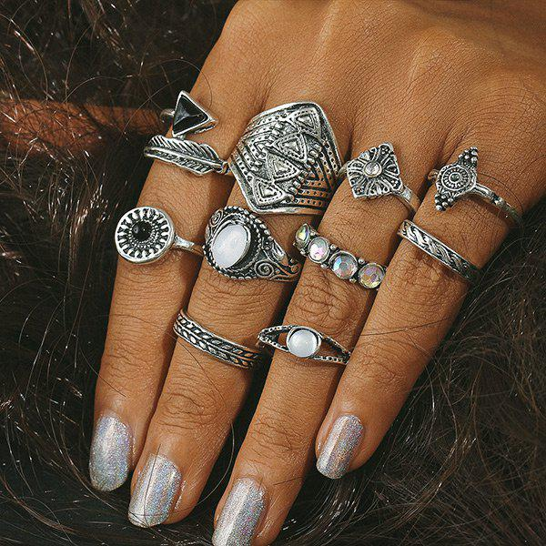Buy Faux Gemstone Alloy Feather Finger Ring Set